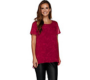 H by Halston Short Sleeve Printed Top with Hi-Low Hem - A283810
