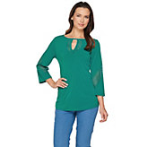 Susan Graver Liquid Knit 3/4 Sleeve Top with Laser Cut Detail - A286710
