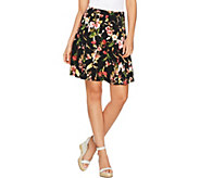 Susan Graver Printed Liquid Knit 8 Gore Pull-On Skort - A288510