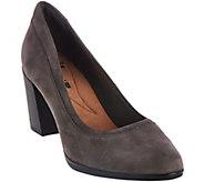 As Is Clarks Leather Block Heel Pumps - Araya Moon - A288910