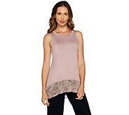 LOGO Layers by Lori Goldstein Knit Tank with Broomstick Chiffon Hem - A290210