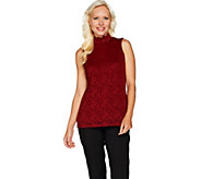 Susan Graver Stretch Lace Mock Neck Sleeveless Top - A293610