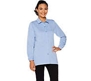 Joan Rivers Micro French Terry Button Front Shirt - A295910