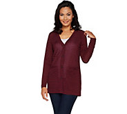Dennis Basso Textured Rib Knit Button Front Cardigan - A297410