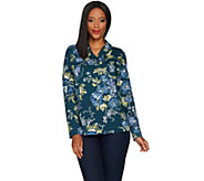 Denim & Co. Floral Print French Terry Shawl Collar Long Sleeve Top - A299210