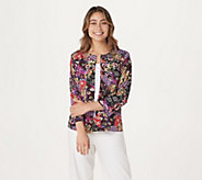 Joan Rivers Patchwork Print Jacket with 3/4 Sleeves - A304210