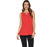Dennis Basso Luxe Crepe Sleeveless Split Neck Peplum Top - A307210