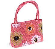 Lee Sands Double Handle Beaded Floral Handbag - A323910