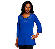 Quacker Factory Curtain Call Knit Tunic with 3/4 Sleeves - A225711