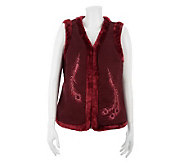 Denim & Co. Faux Suede Vest with Faux Fur & Feather Detail Embroidery - A228211