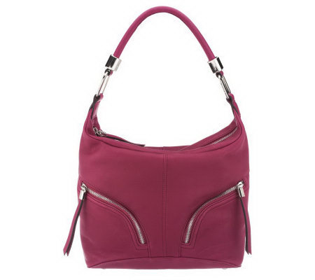 B. Makowsky Zip Top Leather Hobo Bag with Zipper Pockets — on PopScreen 9eabc95e0c
