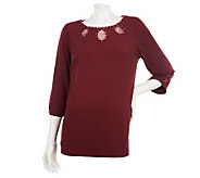 Quacker Factory Sparkle Keyhole 3/4 Sleeve Top - A229311