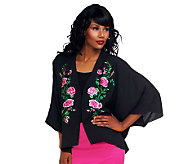 Joan Rivers Kimono Top with Floral Embroidery - A232411