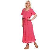 Denim & Co. Short Sleeve Gauze Maxi Dress with Embroidery - A234311