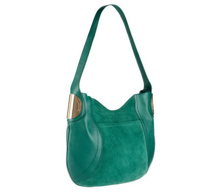 B.Makowsky Giamma Leather & Suede Hobo Bag with Hinge Hardware