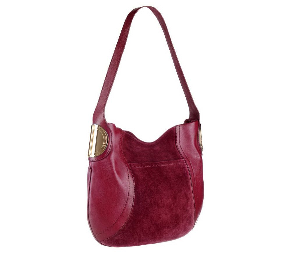 B.Makowsky Giamma Leather & Suede Hobo Bag with Hinge Hardware ...