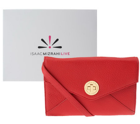 Isaac Mizrahi Live! Bridgehampton Leather Wallet On-A-String
