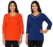Quacker Factory Set of 2 V-neck T-shirts w/Rhinestone Rows - A239311