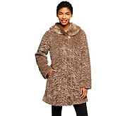 Dennis Basso Sculpted Faux Fur Swing Coat w/ Faux Fur Collar - A239811