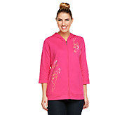 Quacker Factory Wildflower Zip Front 3/4 Sleeve Hoodie - A240811