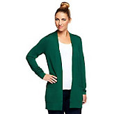 As Is Susan Graver Rayon/ Nylon Long Sleeve Cardigan w/Front Pockets - A252911