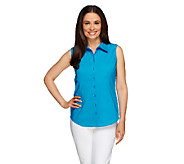 Linea by Louis DellOlio Stretch Cotton Button Front Tank Blouse - A254311