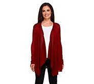 Susan Graver Sweater Knit Lightweight Cascade Front Cardigan - A257111