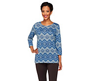 Denim & Co. Heavenly Jersey Stripe Tribal Print Knit Top - A259211