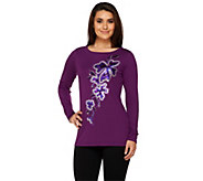 Bob Mackies Spangled Floral Pullover Top with Bateau Neckline - A259411
