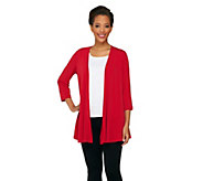 Susan Graver Liquid Knit 3/4 Sleeve Cascading Front Cardigan - A261211