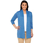 Susan Graver Sweater Knit 3/4 Sleeve Open Front Cardigan - A265011