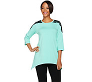Denim & Co. 3/4 Sleeve Scoop Neck Trapeze Top w/ Lace - A267911