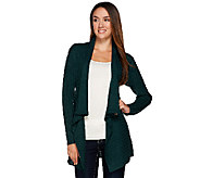 Dennis Basso Shawl Collar Open Front Cardigan with Cable Detail - A268811