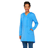 As Is Denim & Co. Active Petite French Terry Tunic w/ Hood - A269511