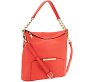 As Is Marc Fisher Cora Leather Convertible Zip Top Hobo - A269711
