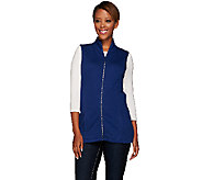 Quacker Factory Quilted Vest with Rhinestone Zipper - A270511