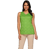 Susan Graver Essential Lace Front & Solid Liquid Knit Back Tank Top - A273511