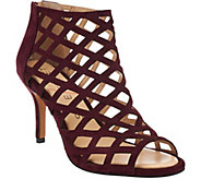 As Is Sole Society Suede Caged High-heeled Sandals -Portia - A278511