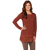 As Is LOGO by Lori Goldstein Cotton Cashmere Waffle Sweater with Tulle Hem - A279311