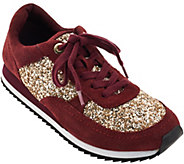 As Is Isaac Mizrahi Live! SOHO Lace Up Sneakers with Glitter - A282411