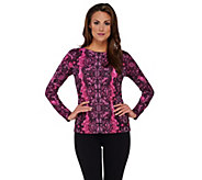 As Is Bob Mackies Placement Print Lace Pullover Top - A282711