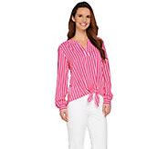 As Is Susan Graver Striped Stretch Woven Split Neck Shirt - A284811