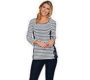 Denim & Co. Striped 3/4 Sleeve Scoop Neck Top w/ Lace Detail - A286811