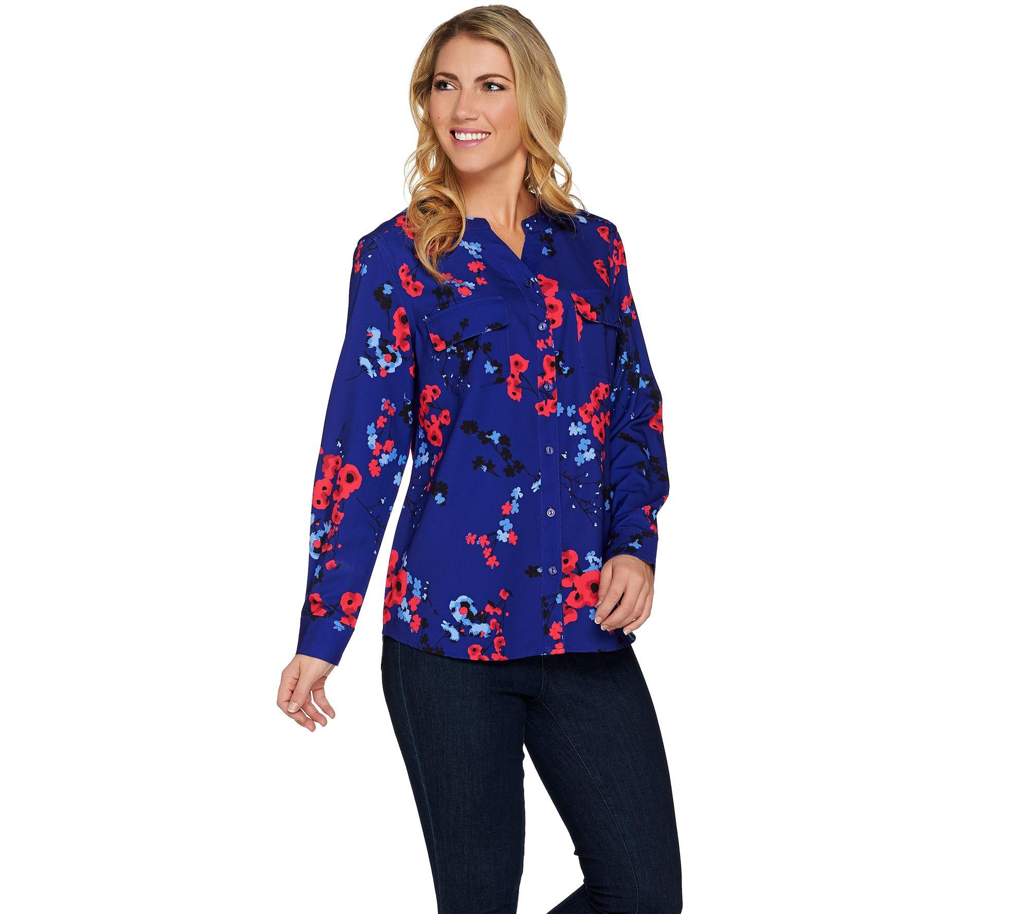 Shirt design female - Floral Print Y Neck Button Front Woven Shirt Page 1 Qvc Com
