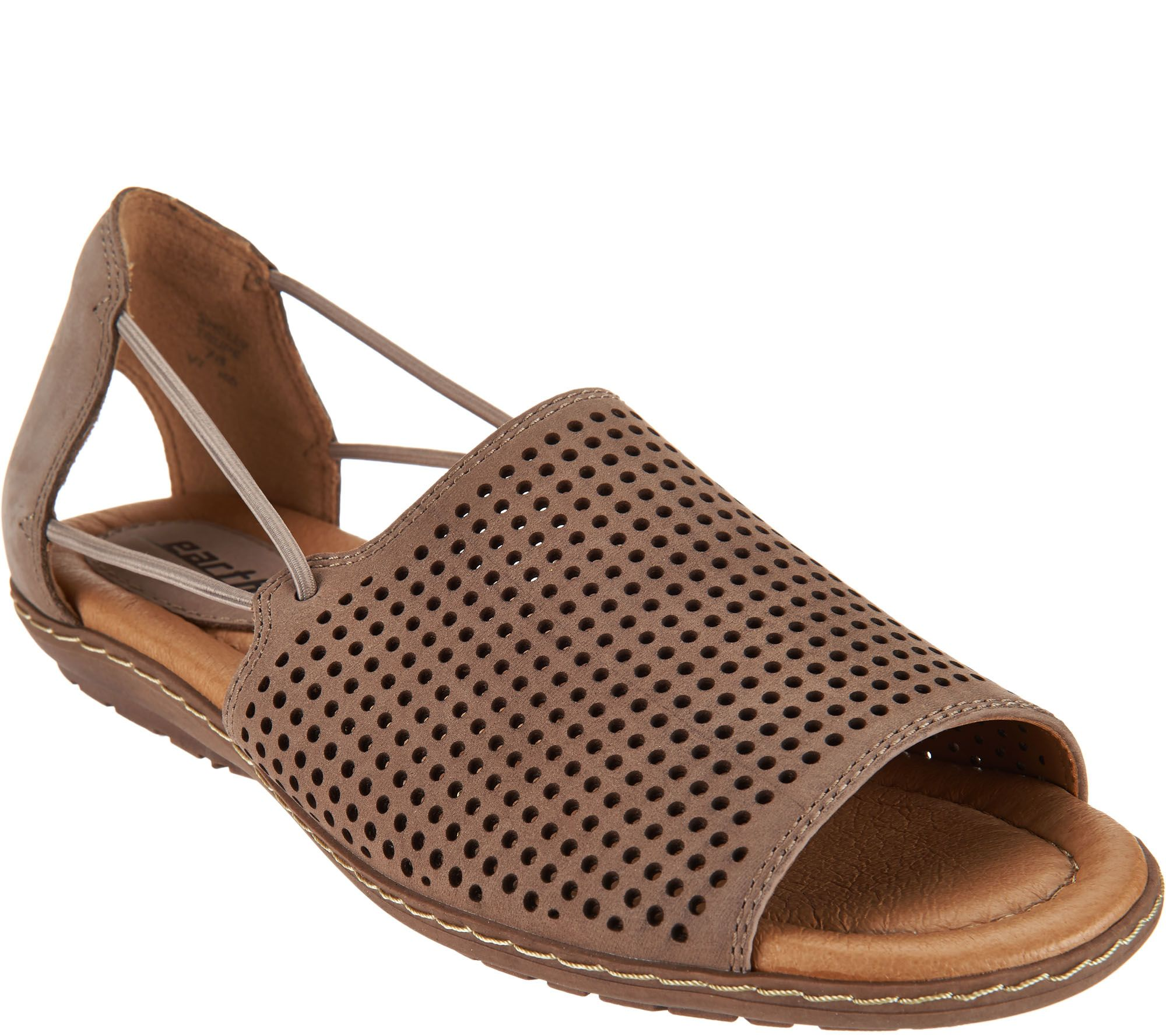 Black earth sandals - Earth Nubuck Leather Perforated Sandals Shelly A289311