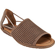 Earth Nubuck Leather Perforated Sandals - Shelly - A289311