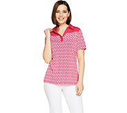 Susan Graver Printed Liquid Knit Polo Shirt - A289411