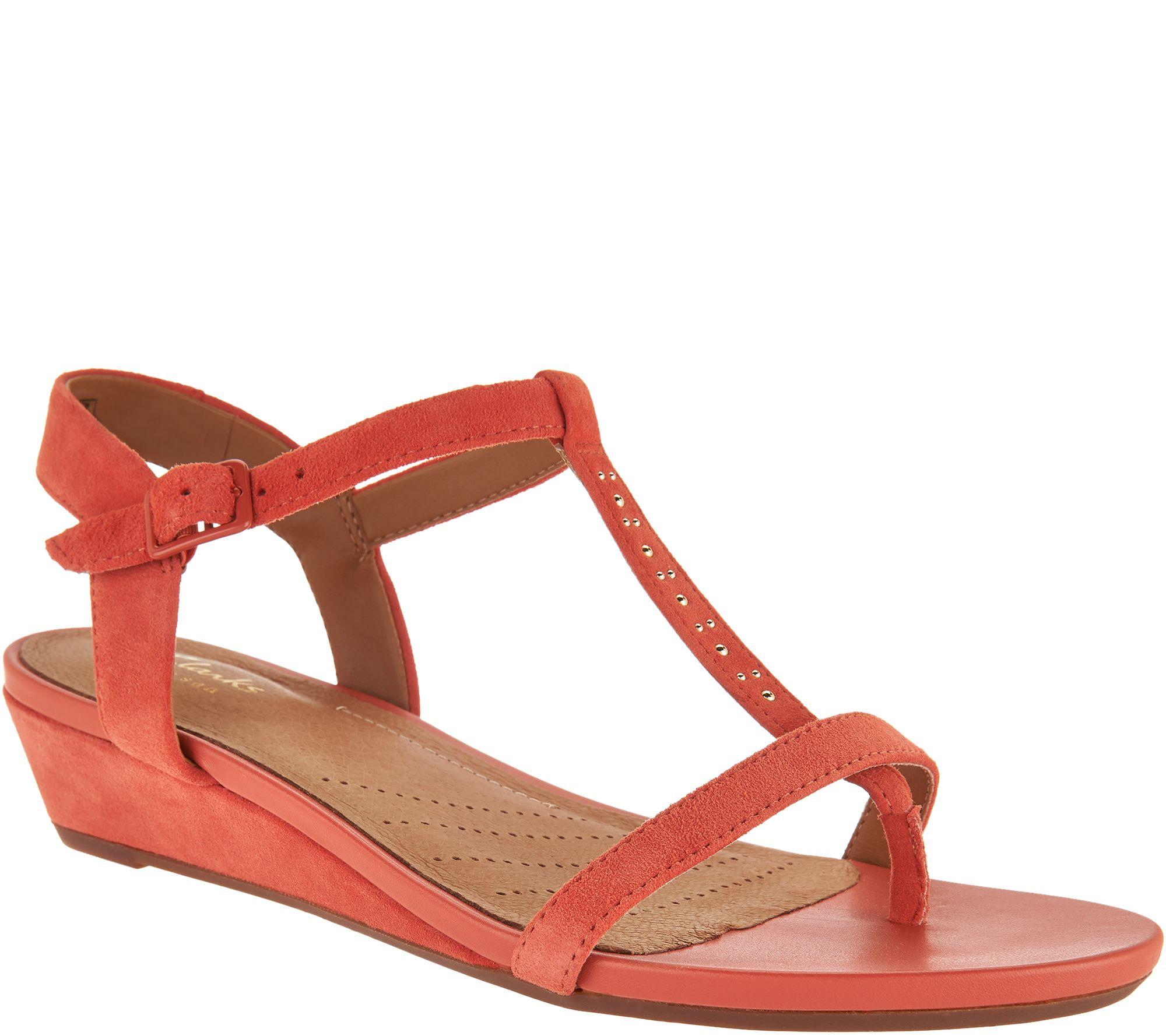 Black wedge sandals 2 inch heel - Clarks Artisan Suede Low Wedge Sandals Parram Blanc A291411