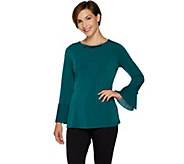 Susan Graver Artisan Liquid Knit Long Sleeve Top with Pleats - A293611