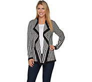 Dennis Basso Drape Front Houndstooth Cardigan - A297411